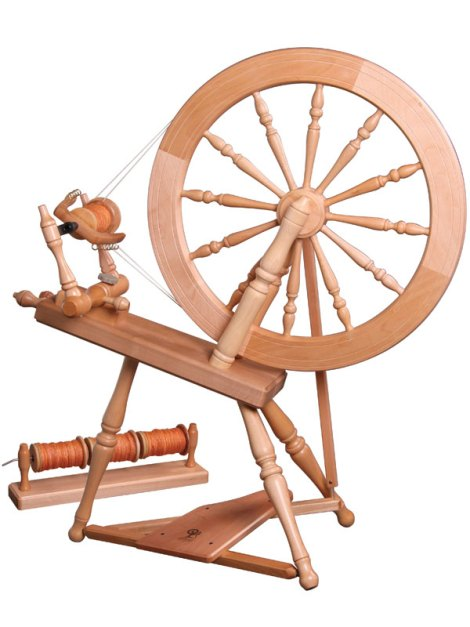 "This is my wheel, plus the ""lazy kate"" to hold the bobbins for plying."