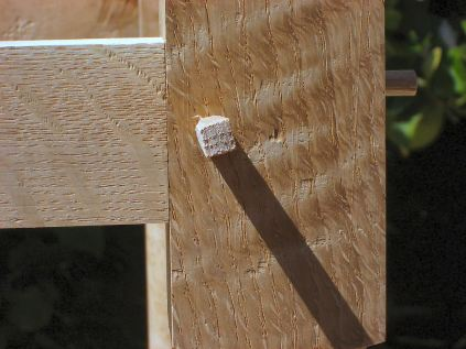 The peg excesses are sawn off and trimmed almost flush.