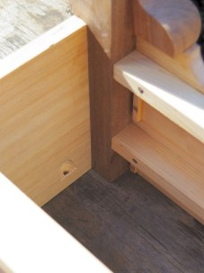 Drawer stops and screw pocket.