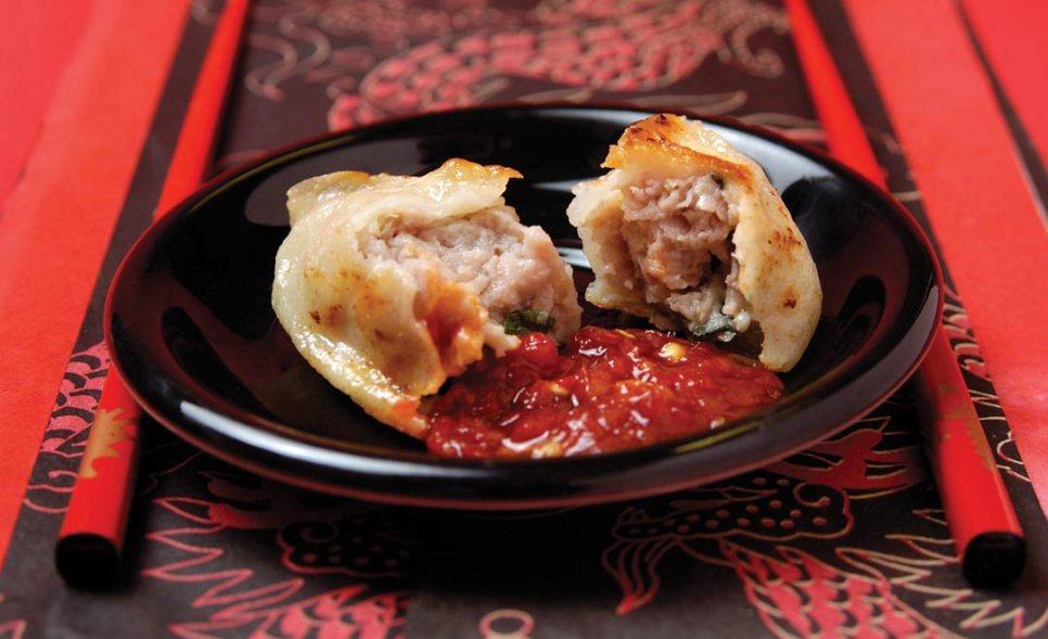 Pan Fried Pork Dumplings by Chef/owner Wei Quan Zhu of Logan Corner