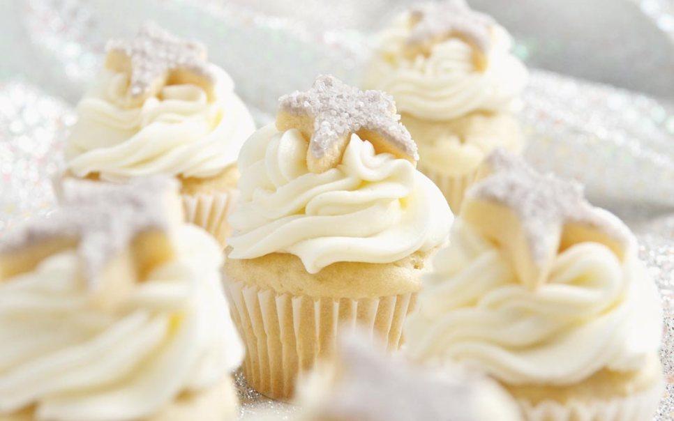 Mini Vanilla Cupcakes with Hand Decorated Star Sugar Cookies