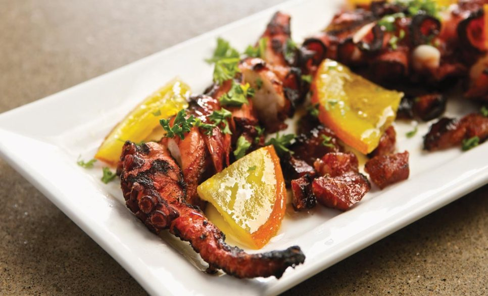 Grilled Octopus with Orange and Chorizo by Chef Alexander Svenne of Bistro 7 1/4