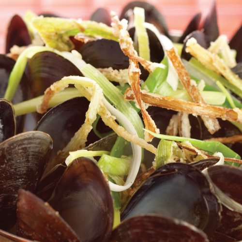Moules Flamande au Pernod with Tempura Leeks by Chef/Owner Fern Kirouac of In Ferno's Bistro