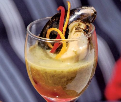 Mussel and Whiskey Shooter by Chef Blue Harland of Beaujena's