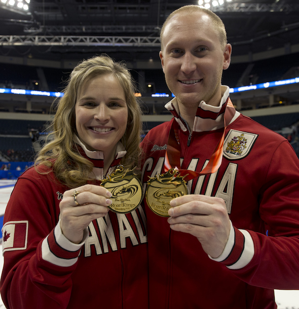 Winnipeg Mb.Tim Hortons Roar of the Rings 2013.skip Brad Jacobs,Jennifer Jones.CCA/michael burns photo