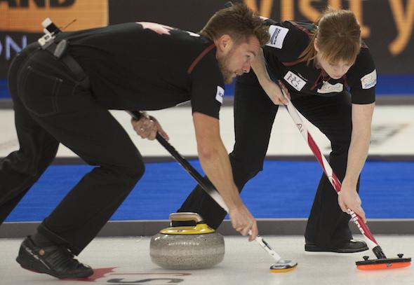 2015 World Financial Group Continental Cup Curling, Calgary AB, Mike McEwen, Dawn McEwen, CCA/michael burns photo