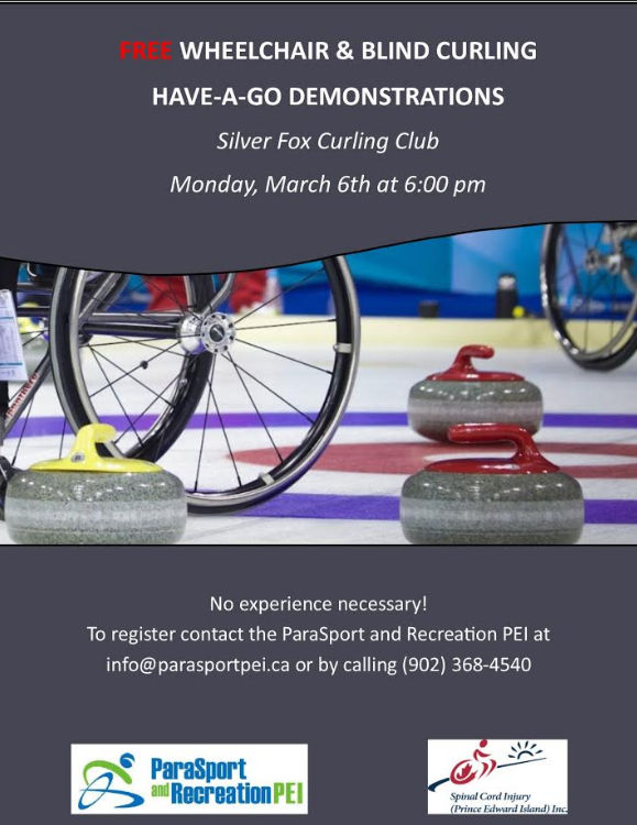 """Free wheelchair and blind curling """"have a go"""" demos @ Silver Fox Curling and Yacht Community Complex"""