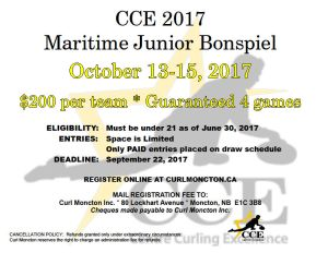 CCE Maritime Junior U21 Bonspiel in Moncton in Oct.