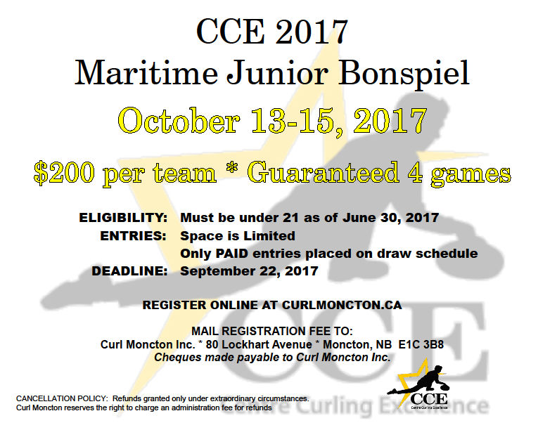 CCE Maritime Junior Bonspiel @ Curl Moncton