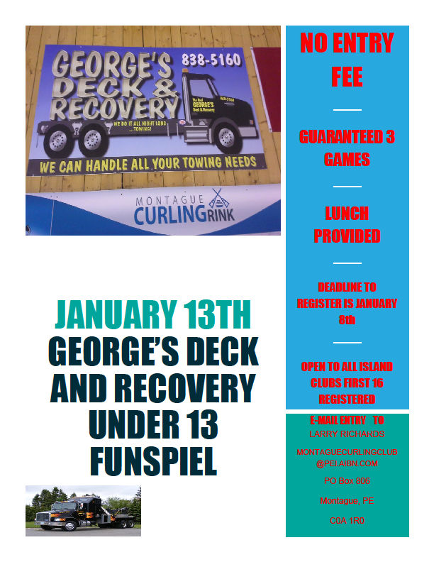 George's Deck U13 Spiel – No Entry Fee, Lunch Included @ Montague Curling Rink