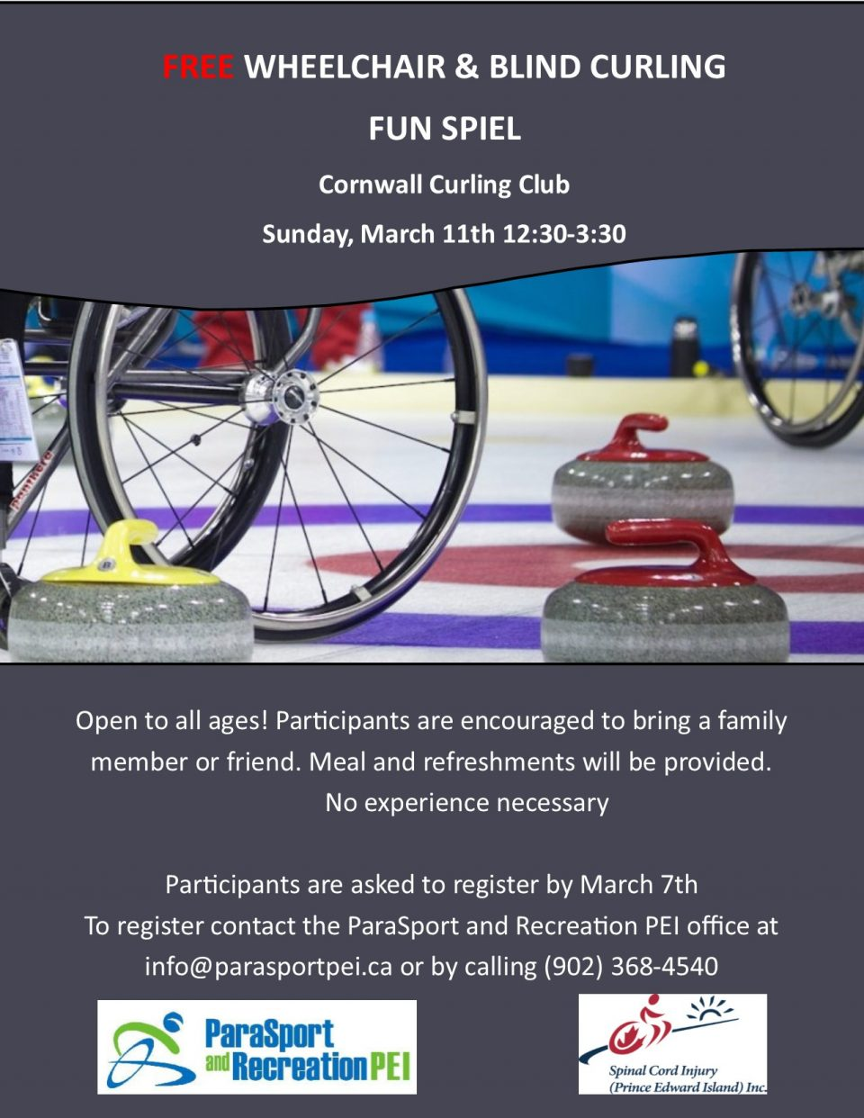 Free Wheelchair and Blind Curling Fun Spiel @ Cornwall Curling Club