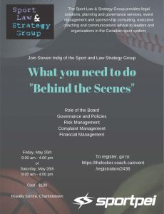"""Sport PEI hosting """"What you need to do behind the scenes"""" workshop"""