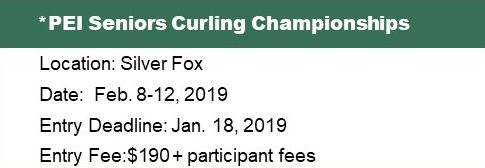 PEI Seniors (50+) Curling Ch'ships @ Silver Fox Curling and Yacht Club