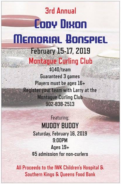 3rd Annual Cody Dixon Memorial Bonspiel (Full) @ Montague Curling Rink | Montague | Prince Edward Island | Canada