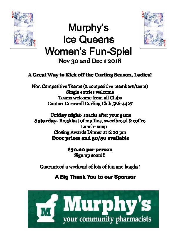 Murphy's Ice Queens Women's Fun-Spiel @ Cornwall Curling Club