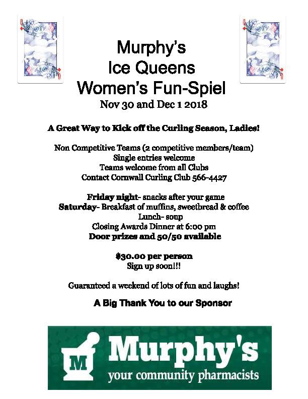 Murphy's Ice Queens Women's Fun-Spiel @ Cornwall Curling Club
