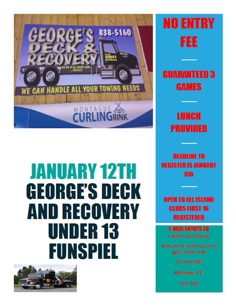 George's Deck and Recovery FREE U13 Spiel @ Montague Curling Rink | Montague | Prince Edward Island | Canada