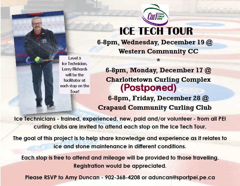 Ice Tech Tour Cancelled for this (Monday) evening