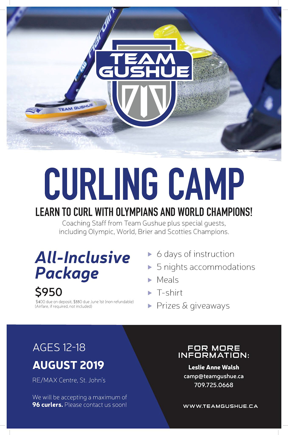 Team Gushue Summer Camp for ages 12-18 @ RE/MAX Centre