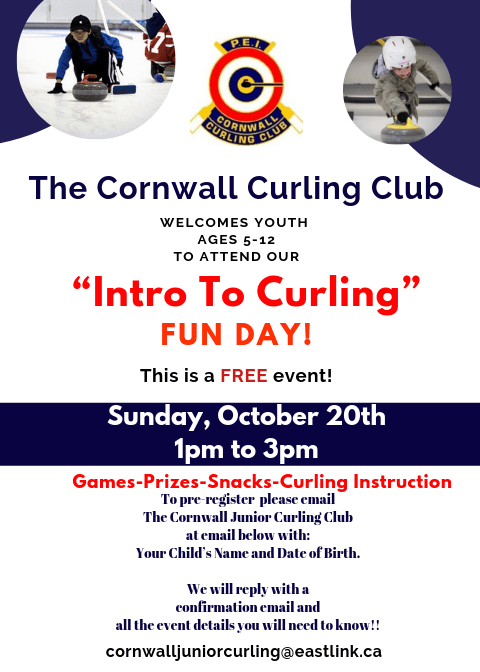 Free Cornwall Junior Intro to Curling Fun Day on Oct. 20 @ Cornwall Curling Club