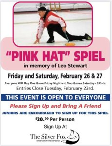 "Fox holding ""Pink Hat"" Spiel in memory of Leo Stewart @ Silver Fox Curling Club"