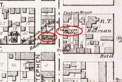 Detail of Central Street in Summerside taken from Meacham's 1880 Historical Atlas of Prince Edward Island. The red ellipses illustrate the proximity of the Summerside Journal and the Summerside Progress, intense rivals for newspaper supremacy in the town.