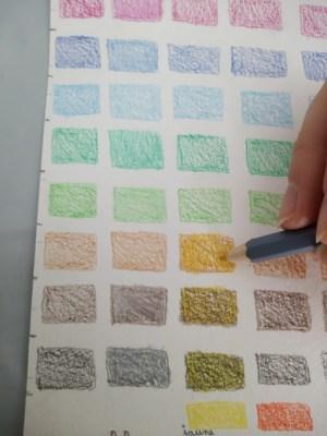 """Nuancier aux crayons aquarelles. Phase """"crayonnée"""""""