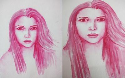 Portrait à l'aquarelle vu du dessus et portrait avec la vue penchée