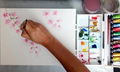 Branche et feuilles de cerisier à l'aquarelle