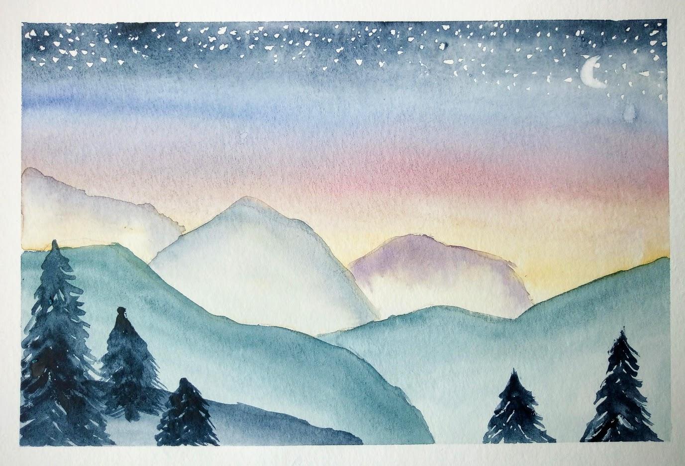 Un paysage étoilé à l'aquarelle facile à réaliser