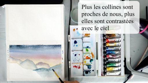 Peindre les collines de plus en plus contrastées avec le ciel