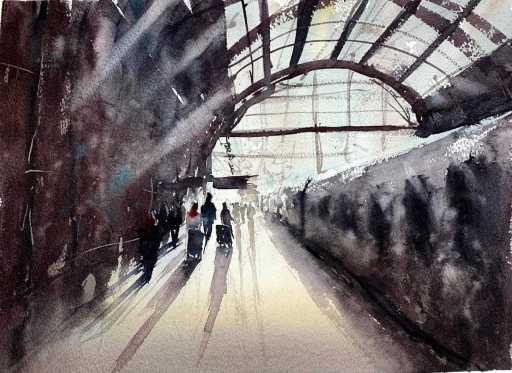 Gare à l'aquarelle par Rémy Lach
