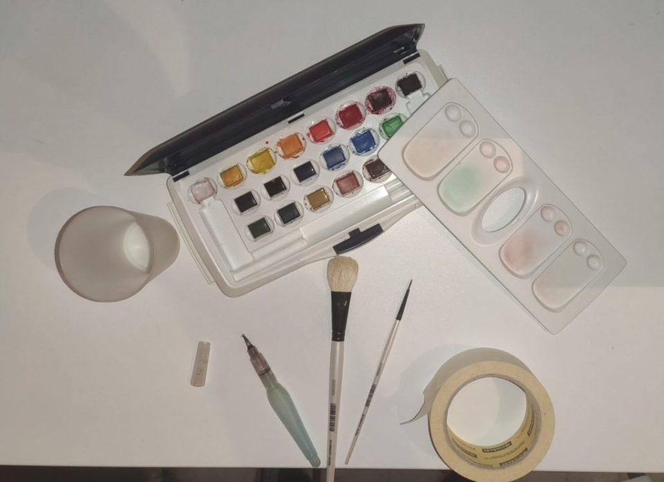 Matériel utilisé pour peindre la bande dessinée à l'aquarelle