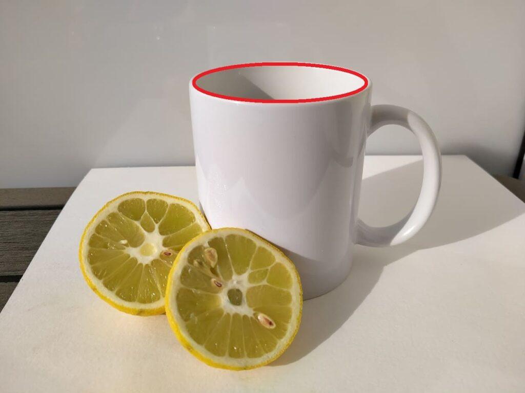 ellipse de la tasse : cercle vu en perspective