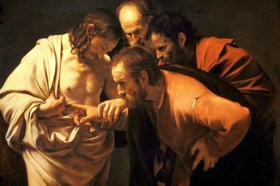 Fig. 2. Caravaggio, Shën Thomai mosbesues, bojë vaji mbi pëlhurë, 1601-2.