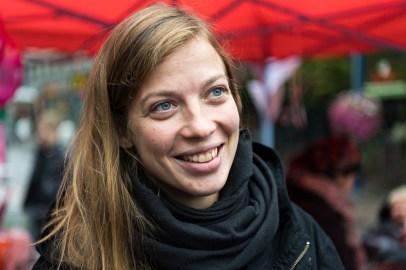 Vasemmistoliiton puoluejohtaja Li Andersson Jyväskylän Kauppakadulla 15.9.2018.