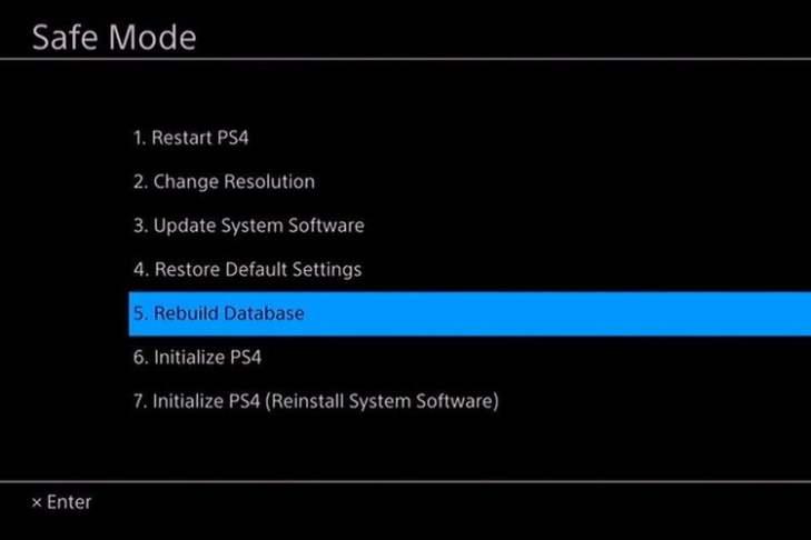Rebuild Database PS4