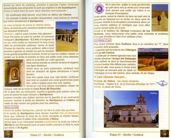 Guide Gérard du Camino, 2e édition, janvier 2014, Via de la Plata et Camino de Sanabria, un exemple de présentation d'une étape (pages suivantes).