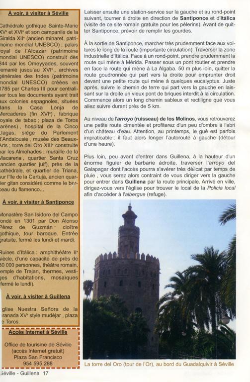 """Guide Lepère """"Sur le chemin de Saint Jacques de Compostelle, La Via de la Plata et le camino sanabrés"""", Edition ? (3), exemple de présentation d'une étape (troisième page)."""