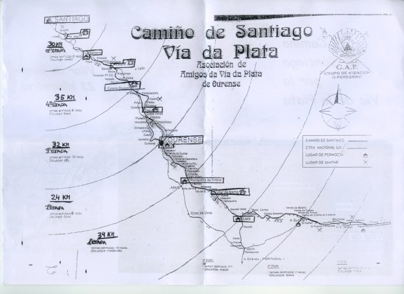 Carte des auberges de la Xunta de Galicia sur la partie galicienne de la Via de la Plata (à partir de A Gudiña).