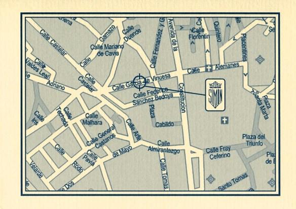 Plan pour se rendre à l'hôtel Simon, à Séville, pour acheter le guide Via de la Plata édité par los Amigos del Camino de Santiago de Sevilla.