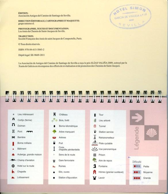 "Guide du chemin Mozarabe de Saint-Jacques ""Via de la Plata"" édité par los Amigos del Camino de Santiago de Sevilla, description des symboles."
