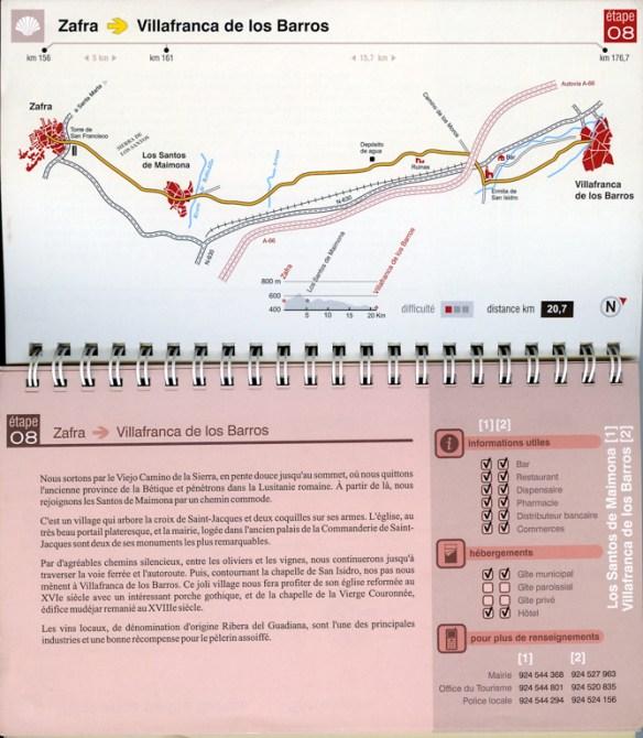 """Guide du chemin Mozarabe de Saint-Jacques """"Via de la Plata"""" édité par los Amigos del Camino de Santiago de Sevilla, exemple d'une fiche étape."""
