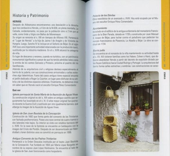 Guide en espagnol Via de la Plata des Editions Everest, de Joaquim Alonso, Miguel Pérez, exemple de présentation d'une étape (cinquième double page).