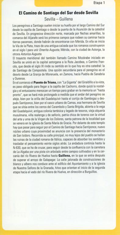Fiches en espagnol Via de la Plata des Editions Everest, de Joaquim Alonso, Miguel Pérez, verso.