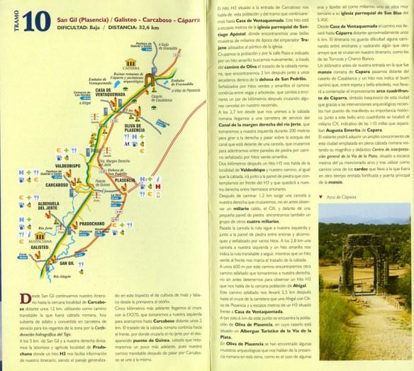 Document Via de la Plata en Extremadure, remis dans les offices du tourisme de la province, exemple de fiche étape.