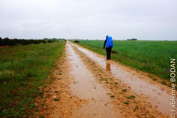 Il pleuvra une bonne partie de la journée. Les terrains sont boueux, glissants. Je choisis de marcher le long de la route pour les cinq derniers kilomètres, préférant affronter le danger de la circulation et des camions que de m'embourber sur les chemins. © Fabienne Bodan