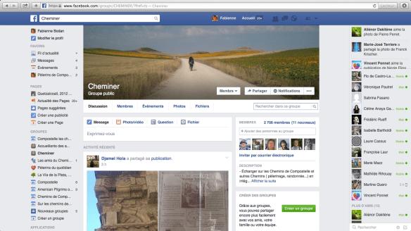 Groupes de pèlerins francophones sur Facebook : Cheminer.