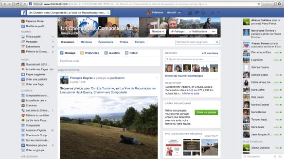 """Groupe de pèlerins francophones sur Facebook : """"Un Chemin vers Compostelle La Voie de Rocamadour en Limousin et Haut-Quercy"""""""