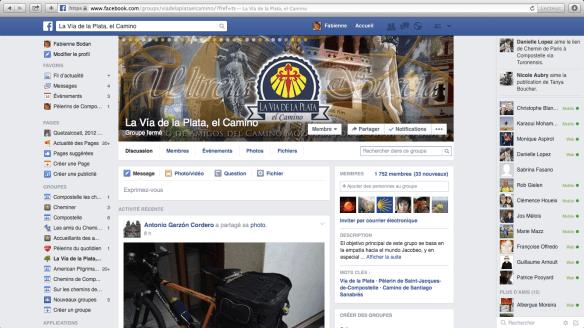 """Groupe de pèlerins hispanophones sur Facebook : """"La Vía de la Plata, el Camino"""""""